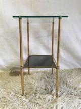 Table d'appoint laiton et verre – années 60