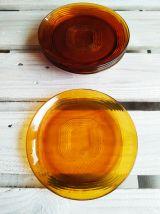 Lot de 6 assiettes plates Duralex ambrées marron, années 70