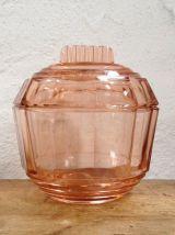 Boîte art déco en verre rose