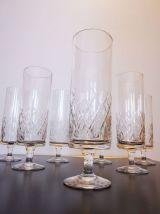 Lot de 7 flûtes à Champagne en cristal