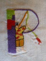 Abécédaire en coton brodé à la main 37 x 46 cm, à encadrer
