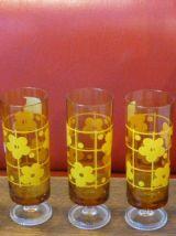 4 flutes en verre jaune, fleurs de lotus vintage 1970