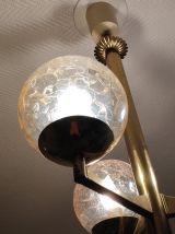 lustre 3 globes verre fumé et craquelé