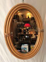 Miroir ovale bambou