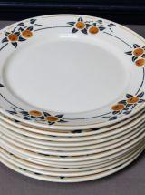 12 assiettes plates Badonviller Madeleine
