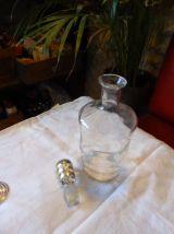 Service a liqueur, carafe et 5 verres, liserés or vintage 50
