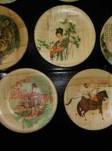 Collection de 8 coupelles en bambou déco asiatique Vintage.