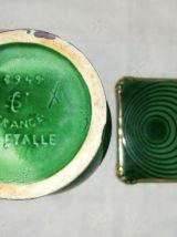 Vase St Clément vert & or vintage et son vide poche,