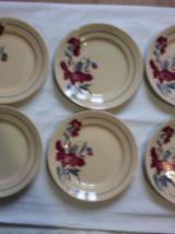 6 assiettes plates anciennes KG Lunevlle modèle Annie