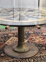 Mobilier de paquebot - table ronde + 6 chaises en acajou et