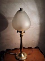 lampe de bureau  laiton art deco verre