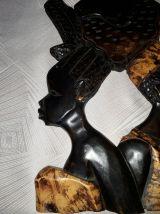 Tableau bois sculpté en relief - Déco Afro Vintage