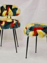Chaise et tabouret Pelfran des années 70