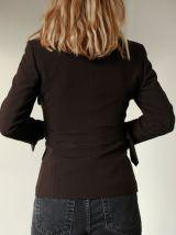 Veste ajustée ceinturée marron col Claudine saharienne vinta