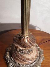 lampe marbre brun pied bronze  montur
