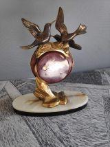 pendule de cheminée art déco Silvoz, socle en marbre veiné