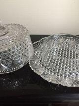 Cloche à beurre, bonbonnière en verre taille diamant