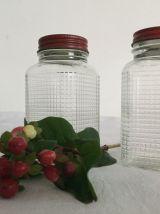 2 petits pots en verre quadrillé miniature