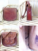 sac ancien artisanal en cuir épais gravé avec motifs western