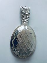 Grand plat ananas en métal argenté