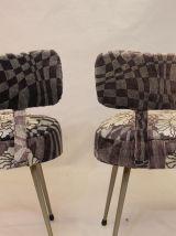 Paire de chaises Pelfran années 70 tissu Sonia Rykiel