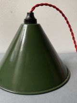 ANCIENNE LAMPE SUSPENSION EMAILLEE VINTAGE