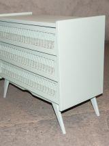 Commode 3 tiroirs rotin années 60