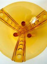 Grand plat de service ou compotier couleur ambre