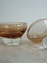 3 flacons de parfumerie en verre très épais datant des sixti