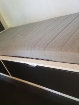 Cadre lit avec rangement, blanc, 90x200 cm grands tiroirs