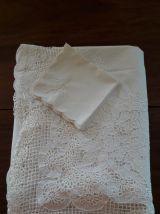 Nappe  Mariée et serviettes  fil de coton blanc dente