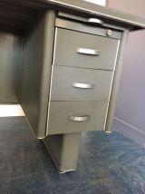 Bureau industriel vintage 3 tiroirs, gris foncé + métal