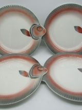 4 jolies assiettes poisson Digoin Sarreguemines