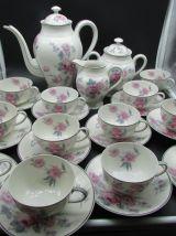 Limoges Raynaud service à café porcelaine décor de roses