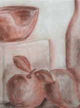 Tableau Nature morte fruits et bouteille