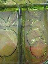plateau vintage pour apéritifs /crudités 1960/1970 en verre