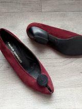 1980 chaussures ballerines à talon daim bordeaux vernis noir