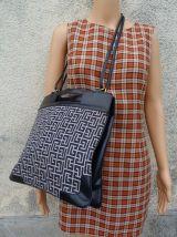 authentique vintage 70s sac cuir toile Balmain