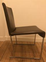 lot de 4 chaises en cuir marron foncé B&B Italia by Antonio