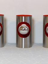 Trio d'appliques tube seventies chrome poli et orange