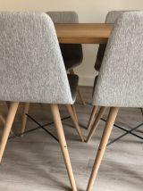 6 chaises danoises originales gris clair pieds bois massif