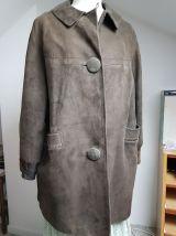 manteau marron en peau et cuir T 40 vintage
