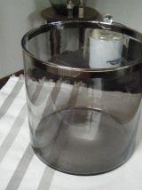 Vase rond récipient verre fumé Vintage  70'S