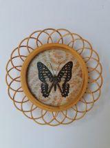 Sous-verre rotin papillons imprimés