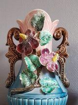 vases de barbottines polychromes art déco bleu et rose