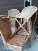 4 chaises rotin vintage 1970 avec  pastille