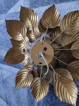 grande applique murale feuilles métal doré des années 70