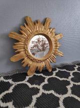 miroir soleil plâtre doré des années 70 avec crochet