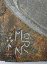 Horloge ardoise sculptée signée Morin vintage Junghans