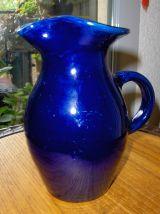 Pichet/carafe + 4 raviers émaillés bleu klein